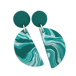 Ladies Green Stone Earring