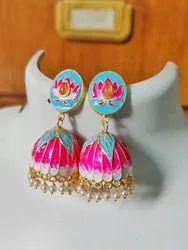 Brass Enamel Coated Earrings