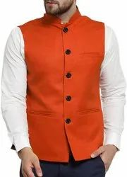 Solid Nehru Jacket (Orange)