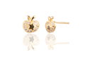 24k Gold Plated Apple Shaped  Star Imprinted Brass Stud Earring