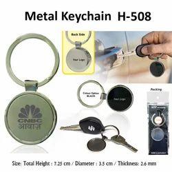 PVC shape round metal keychain