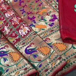 Party Wear Banaras Silk Sarees, Blouse Color: Pink, 6.3 m (with blouse piece)