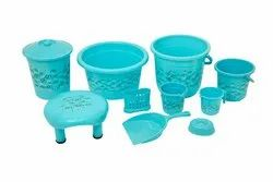 Plastic Bathroom Set 10 pcs - Leaf Print