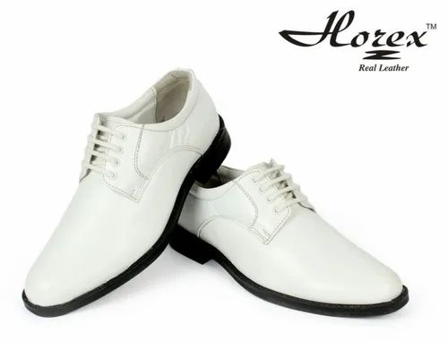Men Shoes - Navy White Uniform Shoes In Pure Leather Manufacturer from Agra