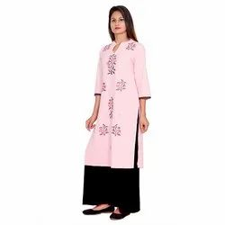 Pink and Black Cotton Flex Kurti
