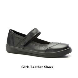 Black Daily Wear And Formal Girls Leather School Shoes, Size: 9 And 10