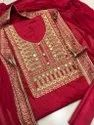 Formal Wear Female Red Color Chanderi Cotton Dress Material With Dupatta, Size: Free