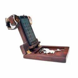 Modern Brown Wooden Mobile Stand Key Holder