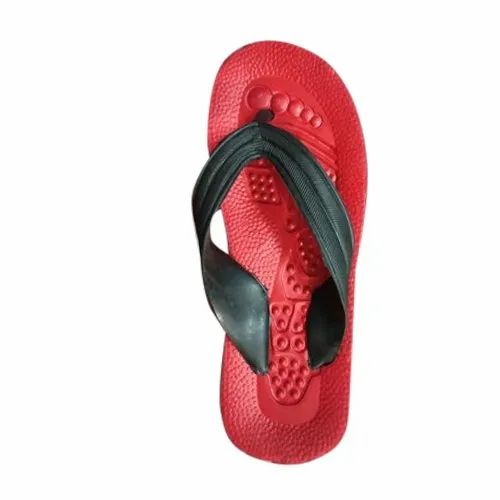 Rainbow Daily Wear Mens Red And Black Designer Slipper, Size: 5-10 Number
