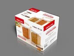 Nirlon Square Container Set Of 2 ABS Plastic 1100ml Food, Pasta, Pluses Container
