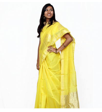 8aa6eb7f4da Yellow Tehzeeb Chanderi Weaving Saree