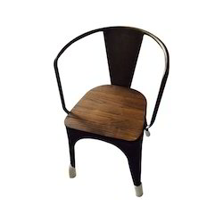 Iron and Wood Designer Cafeteria Chair