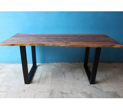 best service c27e8 b9269 Ms Iron Leg Live Edge Acacia Wood Top Dining Table