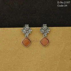 Ethnic Designer Silver Antique Polish Earring