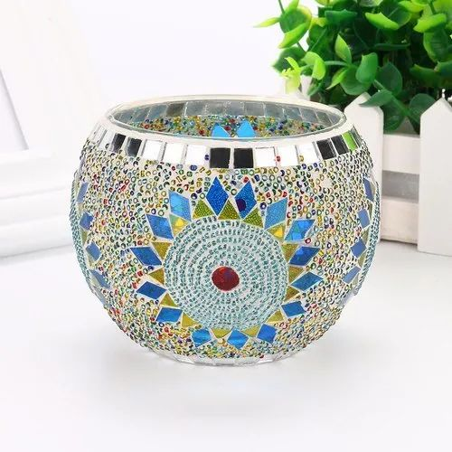 Handmade Glass Beaded Mosaic Candle Holder Rolly polly, For Decoration