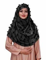 Pom Pom Viscose Cotton Arabian Scarf Hijab For Women