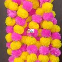 Yellow Pink Jhandu marigold Flower Combination Garlands