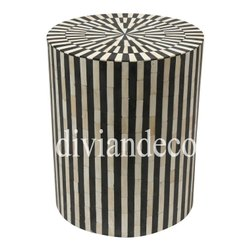 Stripes Monochrome Bone Inlay Bedside