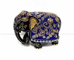 Wooden Painted Elephant With Cloth Work