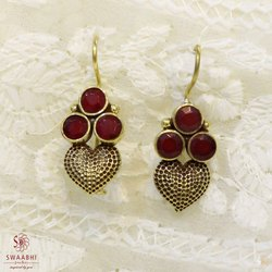 Brass Heart Shape Maroon Stone Earrings A4, Size: 1.2 inch