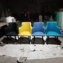 Black Metal Cushioned Cafe Chairs