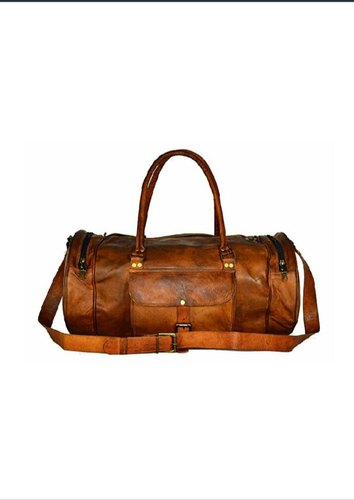 Brown Plain Round Leather Duffle Bag d560b0559f8ef
