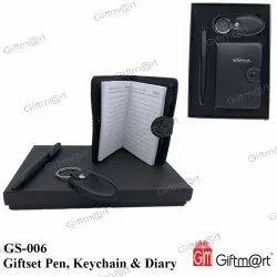 钢笔,钥匙链和日记黑色乳制品礼品套装,为礼品