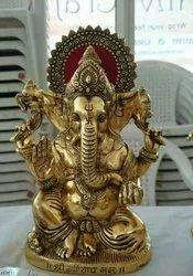 Handicraft Pan India Aluminium Ganesh Statue, Size: 10 Inch