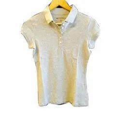 Plain Half Sleeve Ladies Collar T Shirt
