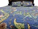 Indian Handmade Cotton Quilted Bed Cover With Pillowcases