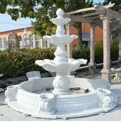 Outdoor Downwards White Marble Fountain, for Hotel