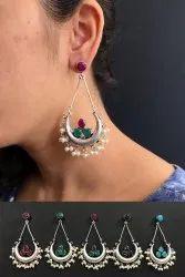 Multi Stone German Silver Earrings
