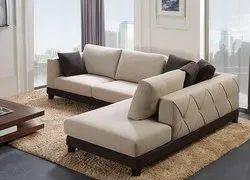 100% Cotton Cream,Brown Designer Fabric Sofa