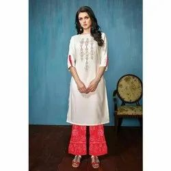 Shreeji Party Wear Ladies Round Neck Rayon Kurti, Size: S