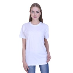 Ribbons and Mustache Women's White Plain Cotton T Shirt