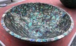Marble Decorative Wash Basin Semi Precious Gemstone Inlay Bathroom Decor
