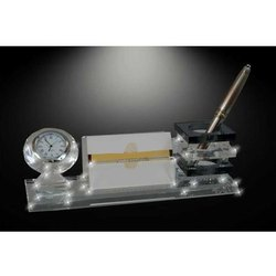 Crystal Pen Stand And Clock Stand