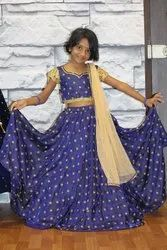 Party Wear Indian Kid Lehenga Set With Silk Material
