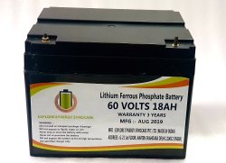 60 V 18Ah Lithium Ferrous Phosphate Battery, Model Name / Number: LF6018