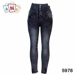 High Rise Button Ladies Skinny Faded Jeans, Hand Wash,Machine Wash