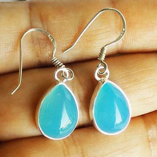 Amazing Natural Blue Chalcedony Gemstone Earrings