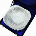 Large Square Shape Designer Silver Plated  Serving Bowl And Tray