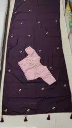 Jari & Diamond Party Wear Designer Hand Work Saree, With blouse piece, 5.5 m (separate blouse piece)