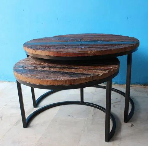 Round Rustic Vintage Set Of 2 Coffee Table For Restaurant Rs 5500