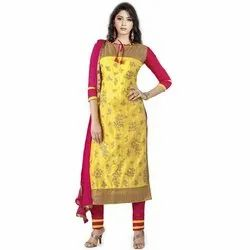 Rajnandini Yellow Heavy Glass Cotton Embroidered Unstitched With Zari Work Weaved Dupatta