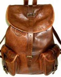 Flap Closure Vintage Leather Backpack