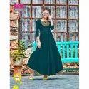 Party Wear Plain Ladies Green Long Dress, Dry Clean