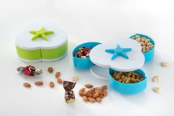 Rajvi Blue And Green Flower Shape Plastic Dry Fruit Bowl, Size: 8 Inch
