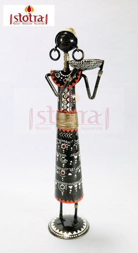Metal Tribal Woman Home Decorative Showpiece