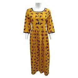 Yellow Casual Wear Cotton Long Kurti